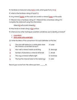 Minerals Study Jams Worksheet