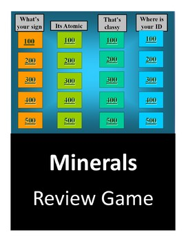 Minerals Test Review - Jeopardy Game