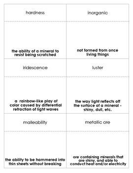 Minerals Vocabulary Bingo