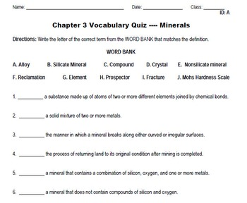 Minerals - Vocabulary Package