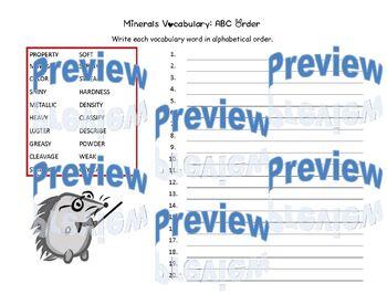 Minerals Vocabulary Word Search, ABC Order, Adjective Comparison