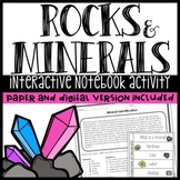 Minerals Worksheet and Interactive Notebook Activity