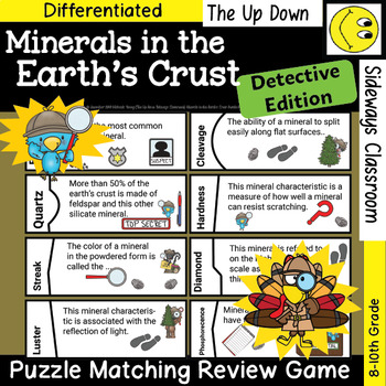 Minerals of the Earth's Crust Detective-Puzzle Matching Review Game-Spec.Edition