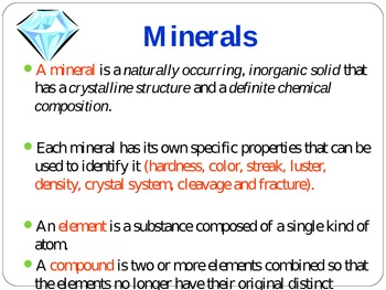 Minerals review and quick check