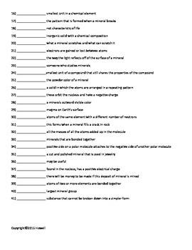 Minerals vocabulary quiz