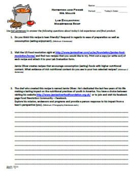 Minestrone Soup Lab Resources