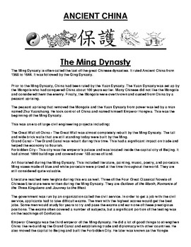 Ming Dynasty in ancient China Article and Assignment