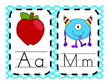 Mini ABC Cards-Polk-A-Dot Background