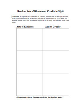 Mini-Activity Packet for Night, by Elie Wiesel