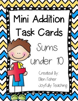 Mini Addition Task Cards Sums under 10