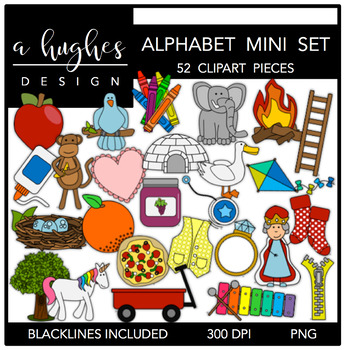 Mini Alphabet Clipart {A Hughes Design}