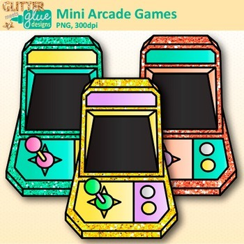 Mini Arcade Games Clip Art {Rainbow Glitter Games for Classroom Technology Use}