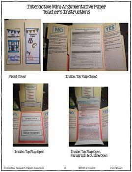 Argumentative Essay Writing: Mini-Argumentative Essay Lapbook Project