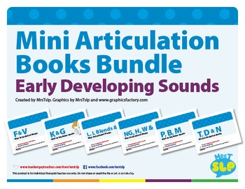 Mini Articulation Books Bundle For Early Developing Sounds
