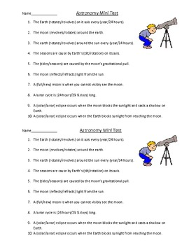 Mini Astronomy Test TEKS