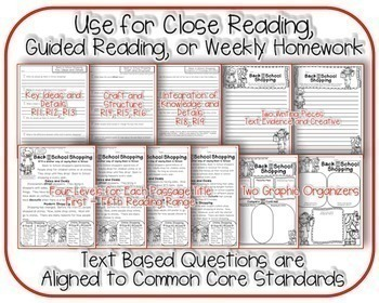 August Passages Common Core Text Based Questions: Close Reading: Weekly Homework