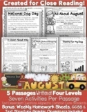 August Passages Common Core Text Based Questions: Close Re