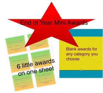 Mini Award Certificates for End of Year