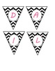 Mini Banner-DAILY SCHEDULE in Black & White Chevron and Hot Pink Letters