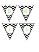 Mini Banner-DAILY SCHEDULE in Black & White Chevron and Lime Green Letters