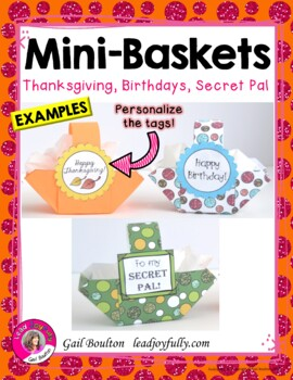 Mini-Baskets for Any Occasion (Tags are EDITABLE!)