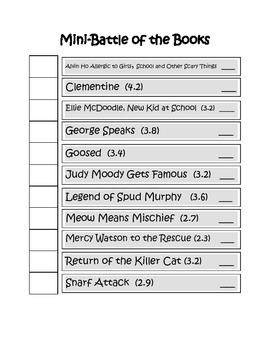 Mini Battle of the Books Student Chart