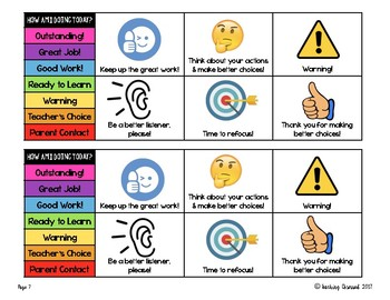 Mini Behavior Chart and Cue Cards