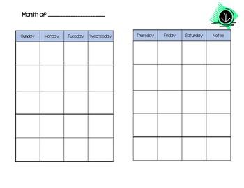 Mini Binder Calendar