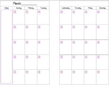 Mini Binder Calendar Pages