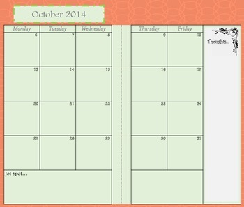 Mini Binder Monthly Calendars August 2014-July 2015