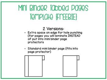 Mini Binder Tabbed Pages Template {FREEBIE}