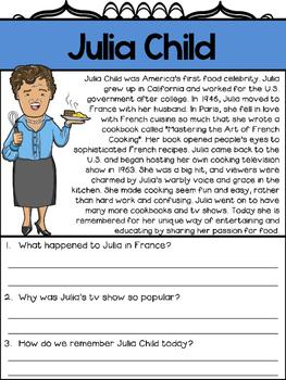 Mini biography set julia child reading and worksheets by the mini biography set julia child reading and worksheets ibookread ePUb
