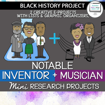 Mini Black History Research Project Pair Pack: Notable Musicians and Scientists