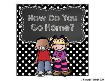 "Mini Black & White Polka Dots and Chalkboard ""How Do You Go Home?"" Clip Chart"
