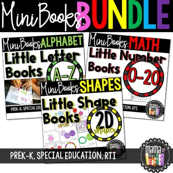Mini Book BUNDLE: Numbers, 2D Shapes, Letters, Math and Literacy, NO PREP