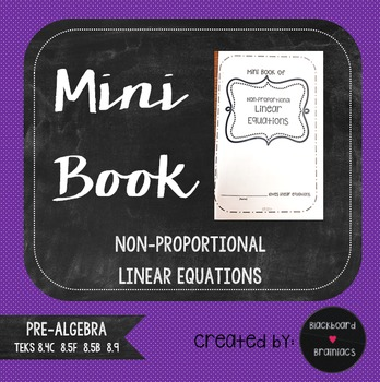Mini Book Foldable Non Proportional Linear Equations Review TEKS 8.4C 8.5F 8.5B