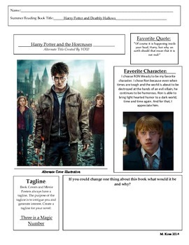 Mini Book Report (Movie Poster) (Includes Example)