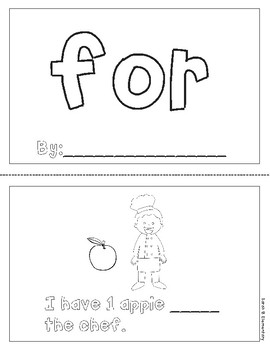 """Mini-Book: Sight Word """"for"""""""