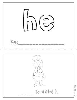 """Mini-Book: Sight Word """"he"""""""