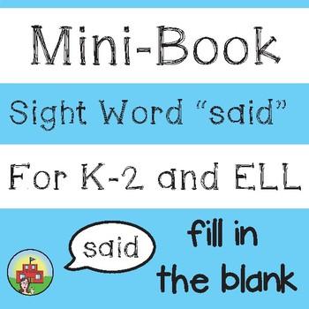 "Mini-Book: Sight Word ""said"""