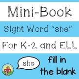 "Mini-Book: Sight Word ""she"""