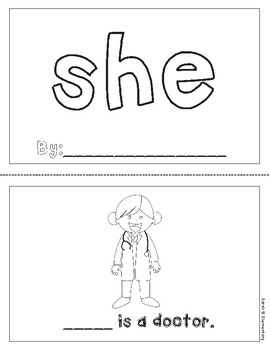 "Mini-Book: Sight Word ""she"""