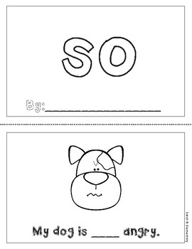 "Mini-Book: Sight Word ""so"""