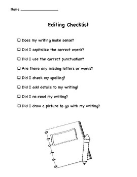 Mini Book Template - Great for Writer's Workshop - Includes Editing Checklist