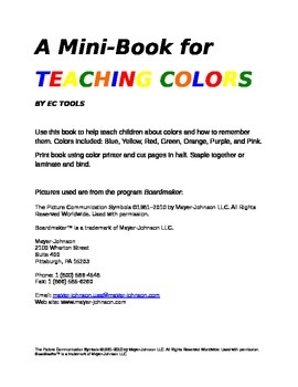 Mini-Book for Teaching Colors