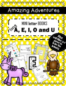 Mini Books Long Sound A, E, I, O, U games, activities, writing