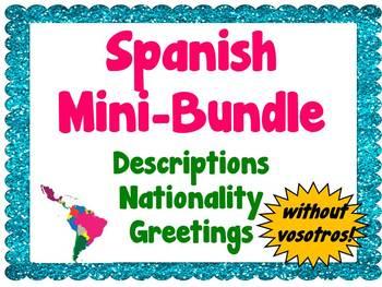 Mini-Bundle: Descriptions/Nationality/Greetings (Spanish)