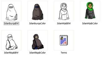 Mini-Bundle: Hijab Girls 17 pc. Clip-Art ( BW and Color!)