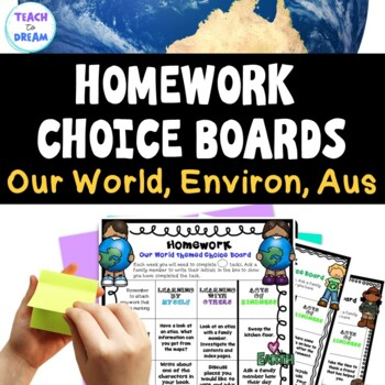 Homework Choice Board or Grid: Our World, Environment, Aus/ USA - MINI BUNDLE