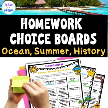 Homework Choice Board or Grid: Beach, Summer, Aus/ US History - MINI BUNDLE